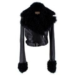 Christopher Kane Black Shearling Trimmed Leather Biker Jacket - Size US 4