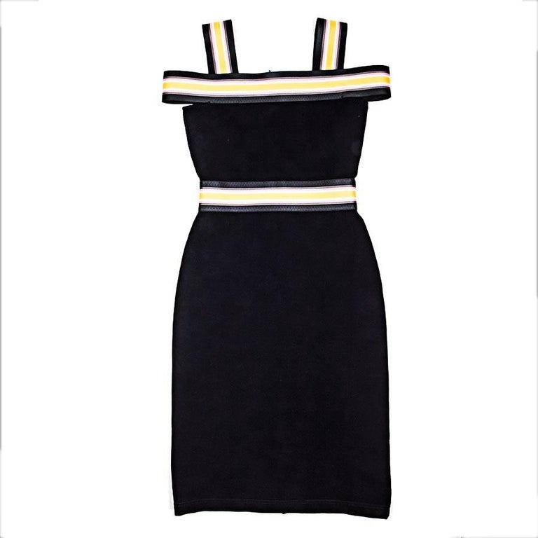 CHRISTOPHER KANE Black Sheath Dress with Straps Size 38FR