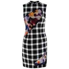 Christopher Kane Checked Floral Peep Wool-blend Runway Dress US6