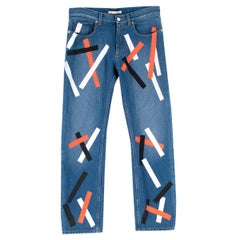 Christopher Kane Denim Jeans with Multicolor Paint Detail Size 26