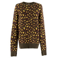 Christopher Kane Khaki & Yellow Leopard Print Cashmere Sweater SIZE S