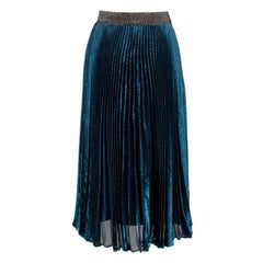 Christopher Kane Lame Pleated Skirt in Metallic Blue XXS IT38