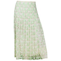 Christopher Kane Mint Green and White Plasma Floral Lace Pleated Skirt sz 6