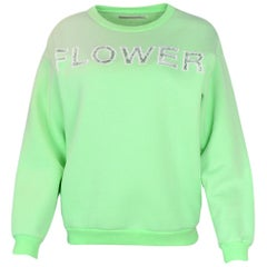 "Christopher Kane Mint Green ""Flower"" Lace-Insert Crewneck Sweater sz XS"