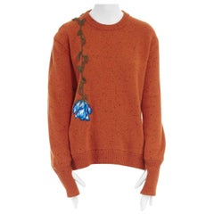 CHRISTOPHER KANE orange speckle virgin wool flower embroidered sweater top S