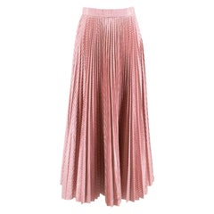Christopher Kane Pleated Checked Metallic Pink Skirt 8 UK