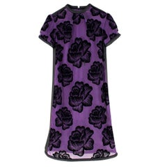 Christopher Kane Purple Leather trimmed Flocked Tulle Dress SIZE UK 8