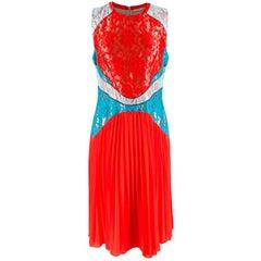 Christopher Kane Red & Blue Lace Paneled Pleated Midi Dress - Size US 10