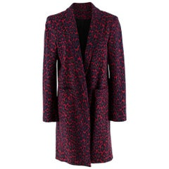 Christopher Kane Red Leopard Print Wool Coat - Size US 8