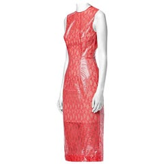 Christopher Kane Red Plastic Lace Midi Dress - Size US 8