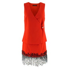 Christopher Kane Red Wool Embellished Wrap Top & Skirt SIZE 8 UK