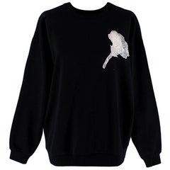 Christopher Kane Sheer Black Lace Flower Applique Sweatshirt - Size US 8