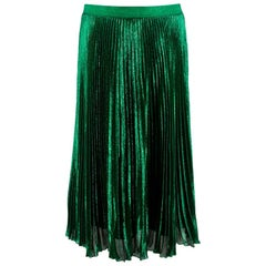 Christopher Kane Silk Blend Green Pleated Midi Skirt L UK14