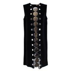 Christopher Kane Silver Embellished Black Shift Dress - Size US 10