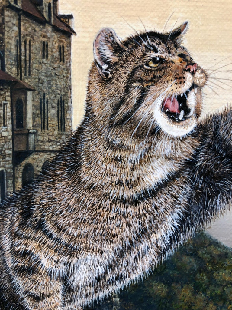 Cat as Catch Can -Surreal Painting, Cat, Medieval Falconry, Bat-Eared Elephant For Sale 15
