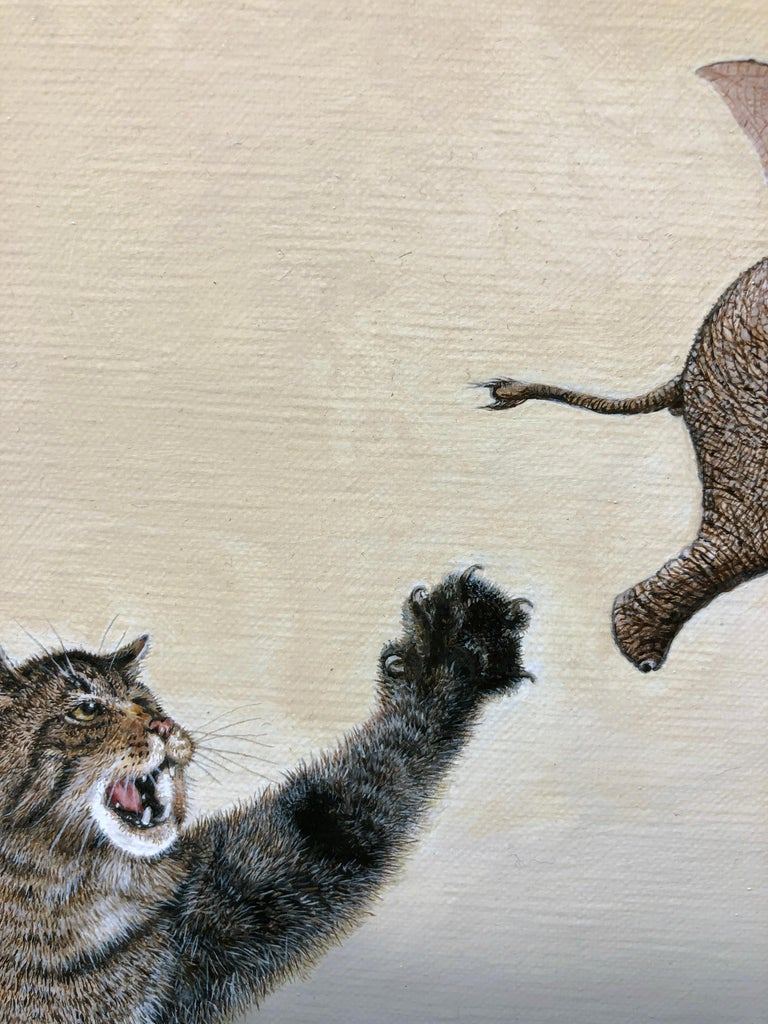 Cat as Catch Can -Surreal Painting, Cat, Medieval Falconry, Bat-Eared Elephant For Sale 3