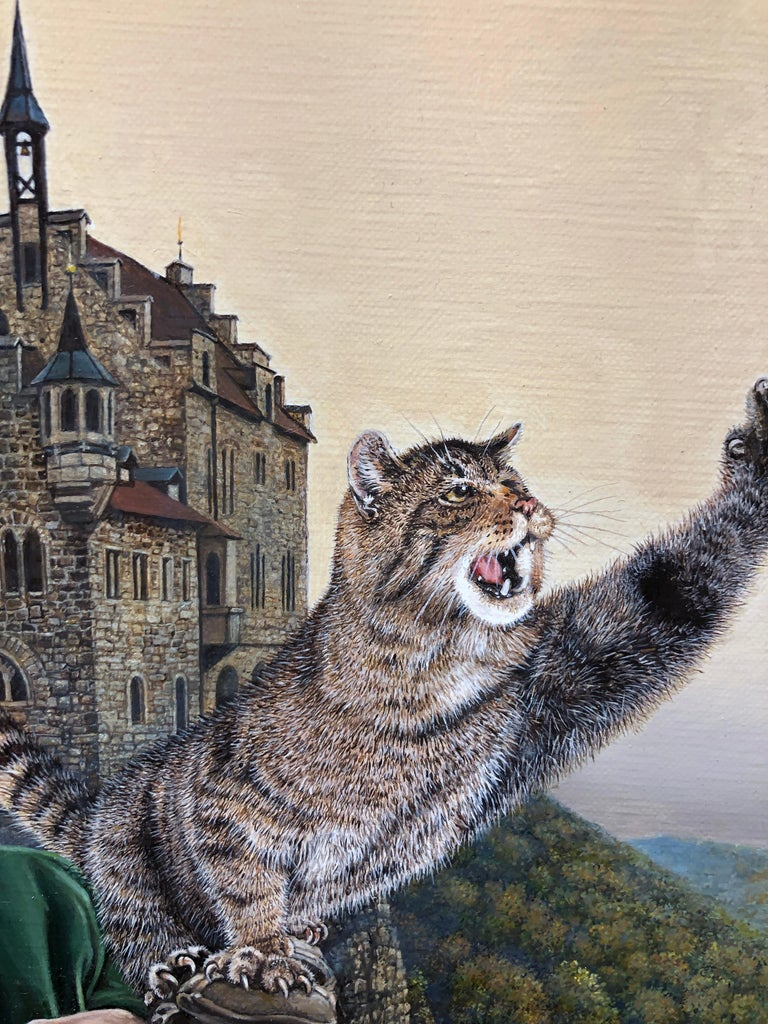 Cat as Catch Can -Surreal Painting, Cat, Medieval Falconry, Bat-Eared Elephant For Sale 4