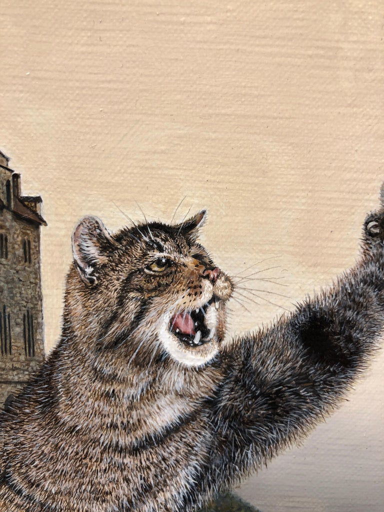 Cat as Catch Can -Surreal Painting, Cat, Medieval Falconry, Bat-Eared Elephant For Sale 5