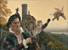 Cat as Catch Can -Surreal Painting, Cat, Medieval Falconry, Bat-Eared Elephant