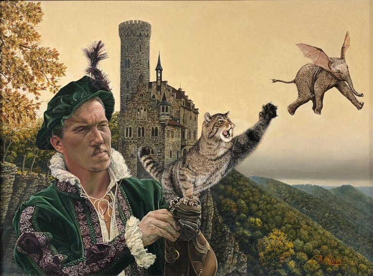 Christopher Klein Animal Painting - Cat as Catch Can -Surreal Painting, Cat, Medieval Falconry, Bat-Eared Elephant