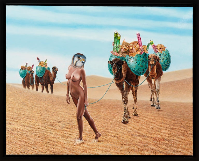 Coming Out of the Wasteland - Surreal Oil Painting with Nude Woman in the Desert - Beige Nude Painting by Christopher Klein