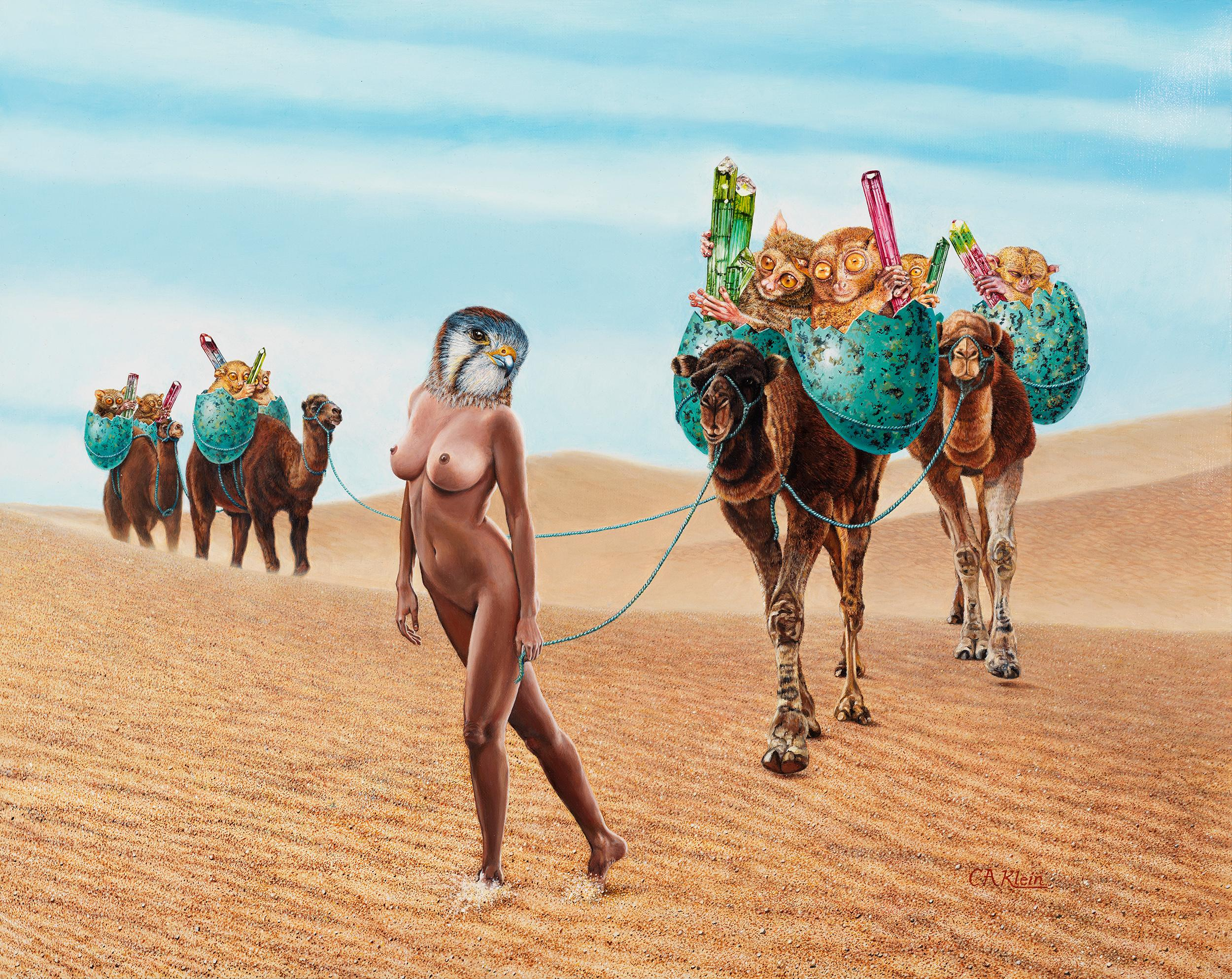 Coming Out of the Wasteland - Surreal Oil Painting with Nude Woman in the Desert
