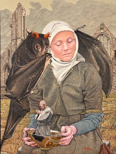 Temptation of St. Anthony, Surrealist Oil Painting with Female, Bat and Saint