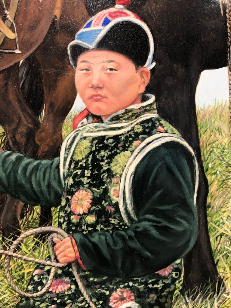 The Unicorn Trader, Surreal Painting, Male Figure, Horse-Like Unicorns, Crystals 1