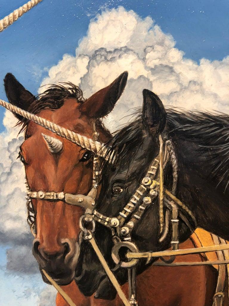 The Unicorn Trader, Surreal Painting, Male Figure, Horse-Like Unicorns, Crystals 2