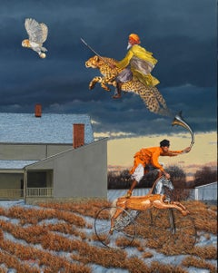 Wisdom Trumps Violence - Surreal Oil Painting with a Leopard, an Owl, and a Man