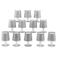 Christopher Lawrence Design Sterling Silver Mid-Century Modern Set of 12 Goblets
