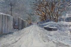 """Sunnyside Snow"" Contemporary Impressionist Winter Urban Landscape"