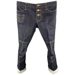 CHRISTOPHER NEMETH Size S Indigo Contrast Stitch Denim Button Fly Jeans