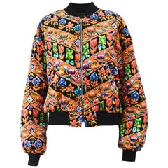 Christopher New 1980s Vintage Multicoloured Printed Velvet Quilted Bomber Jacket