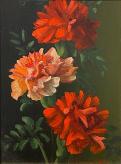 """Christopher Pierce, """"Carnations"""", 8x6 Floral Oil Painting on Board"""