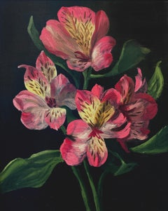 """Christopher Pierce, """"Pink and White Alstroemeria"""", 10x8 Floral Oil Painting"""