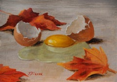 """Christopher Pierce, """"Raw Egg and Leaves"""", 5x7 Autumn Still Life Oil Painting"""