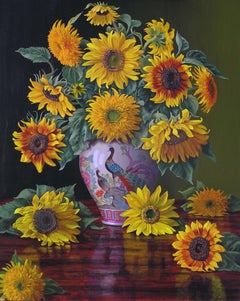 """Christopher Pierce, """"Sunflowers in Peacock Vase"""", 30x24 Floral Oil Painting"""