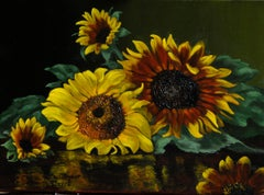 """Christopher Pierce, """"The Family"""", 12x16 Sunflower Oil Painting on Canvas"""