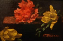 """Christopher Pierce, """"Yellow and Peach"""", 5x7 Floral Oil Painting on Board"""