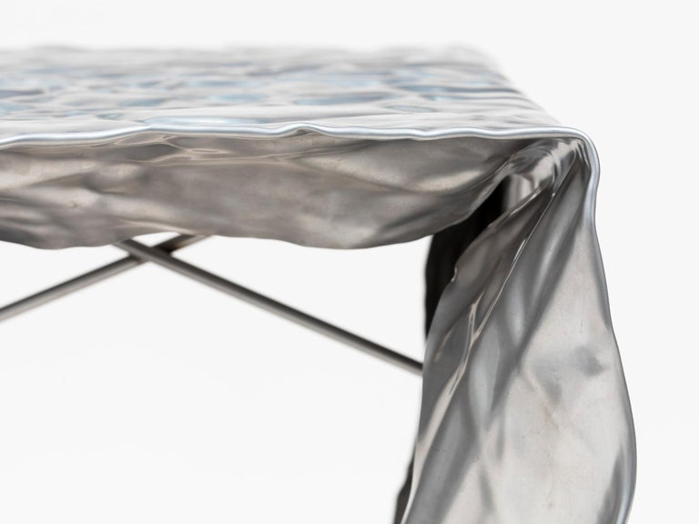 American Christopher Prinz Outdoor Stainless Steel Stool For Sale
