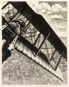Banking at 4000 Feet - 20th Century, Lithograph by Christopher Nevinson