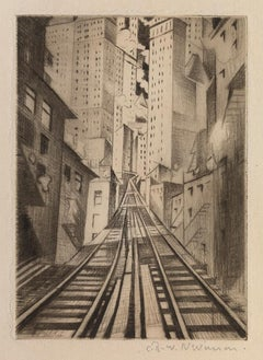New York: An Abstraction - 20th Century, Drypoint by Christopher Nevinson