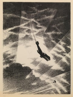 Swooping Down on a Taube - 20th Century, Lithograph by Christopher Nevinson