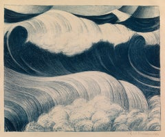 The Blue Wave - 20th Century, Lithograph by Christopher Nevinson