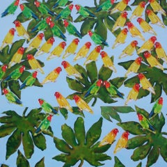 Love Birds - contemporary birds parrots leaves nature acrylic painting
