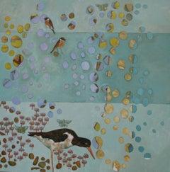 Of Water Falling - contemporary nature bird rain acrylic painting