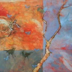 Rain Washed and Wind Shaken - contemporary nature birds tree acrylic painting