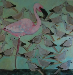 Study in Pink and Grey - contemporary Flamenco pigeons birds acrylic painting