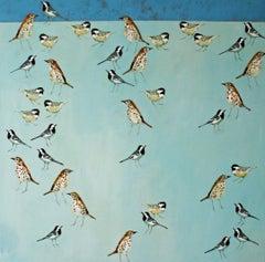 The Blue Sky Above - contemporary birds blue acrylic painting